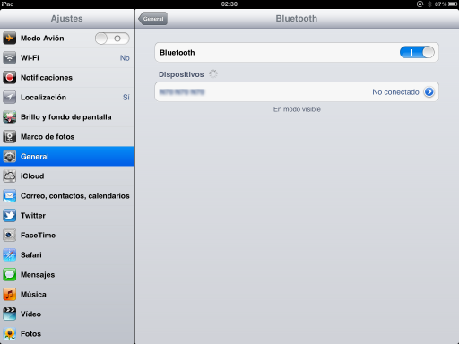 iPad - configuración de Bluetooth