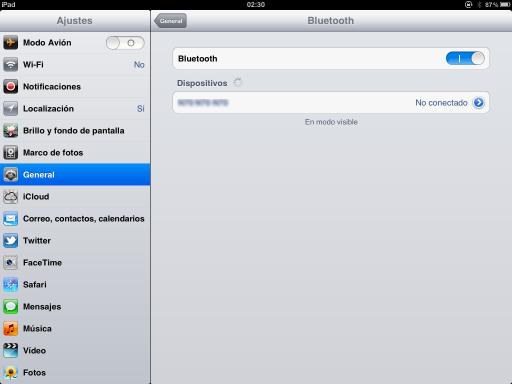iPad - configuración de Bluetooth