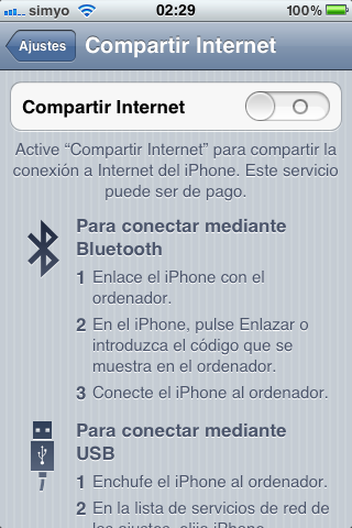 Configuración para compartir Internet en el iPhone