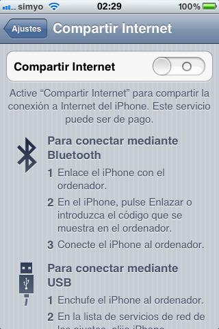 Configuración para compartir Internet en el iPhone