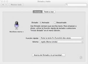 Apple dictado y habla (OSX - Mountain Lion)