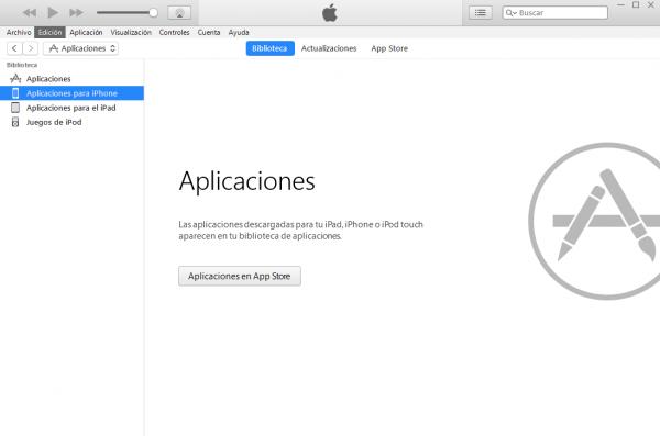 Apartado de aplicaciones en iTunes