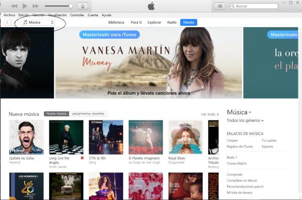 Abrir iTunes y acceder al menú desplegable de la parte superior
