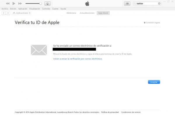 Cuenta de iTunes (Apple ID) creado sin tarjeta de crédito. Operación realizada. Enviado correo de confirmación