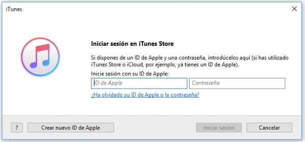 """Iniciar sesión en iTunes Store"""". Dale a """"Crear nuevo ID de Apple"""""""