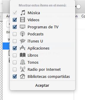 """Escoger qué elementos deben aparecer y añadir """"Aplicaciones"""""""