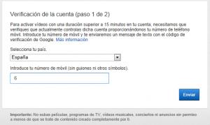 Verificar la cuenta - Cómo quitar la limitación de 15 minutos a los vídeos de YouTube