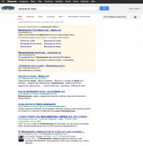 Reclamación Iberia en Google