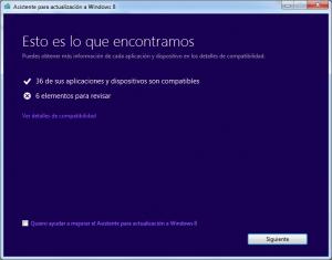 Resultado de la compatibilidad de programas y drivers con Windows 8 en mi equipo