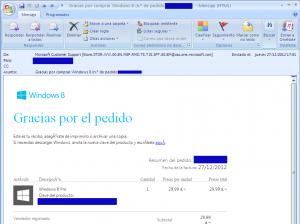 Windows 8 Pro - recibo de compra