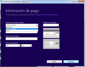 Windows 8 informacioón de pago