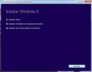 Windows 8 Pro opciones de instalación
