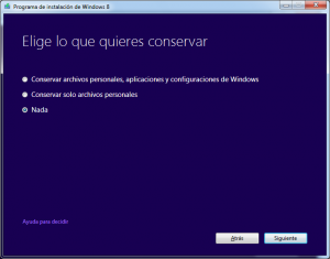 ¿Qué quiero conservar? Windows 8