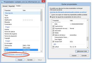 Información EXIF incluida en las fotografías vía Windows