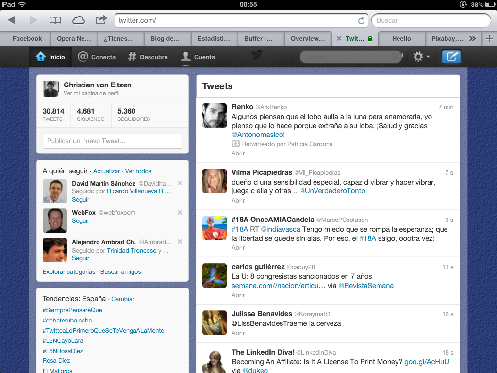 "Web ""normal"" de Twitter (de escritorio) en un iPad"