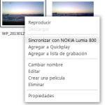 Botón derecho para sincronizar con Nokia Lumia 800