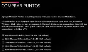 Comprar puntos Microsoft Zune