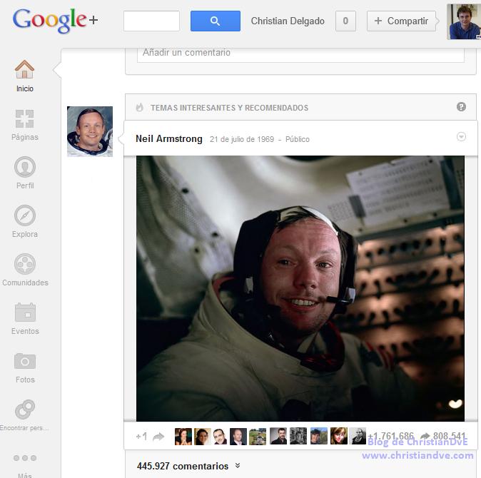 Google+ de Neil Armstrong - hombre en la Luna