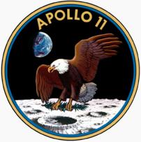 Insignia/badge de Foursquare con motivo de que el hombre llega a la Luna - Apolo 11
