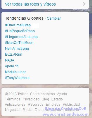 Trending topic globales de Twitter - El hombre aterriza en la Luna