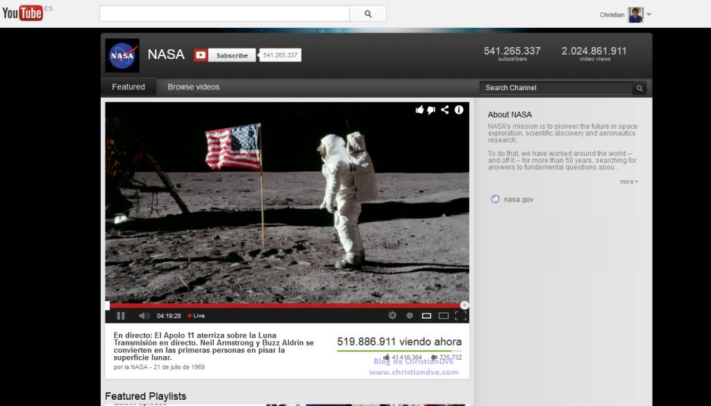 Canal de YouTube - El hombre aterriza en la Luna - Transmisión en directo