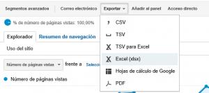 Exportar más de 500 filas Google Analytics