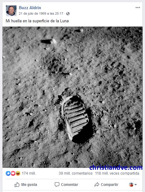 Facebook de Buzz Aldrin - El hombre aterriza en la Luna (clic para ampliar) - versión 2019