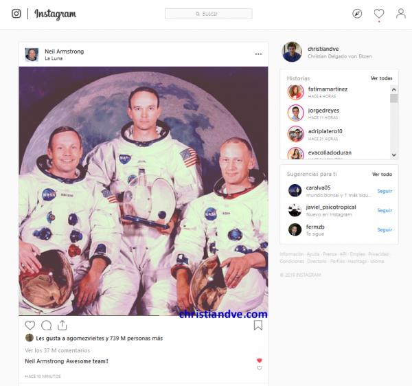 Instagram de Neil Armstrong tras la llegada del hombre a la Luna
