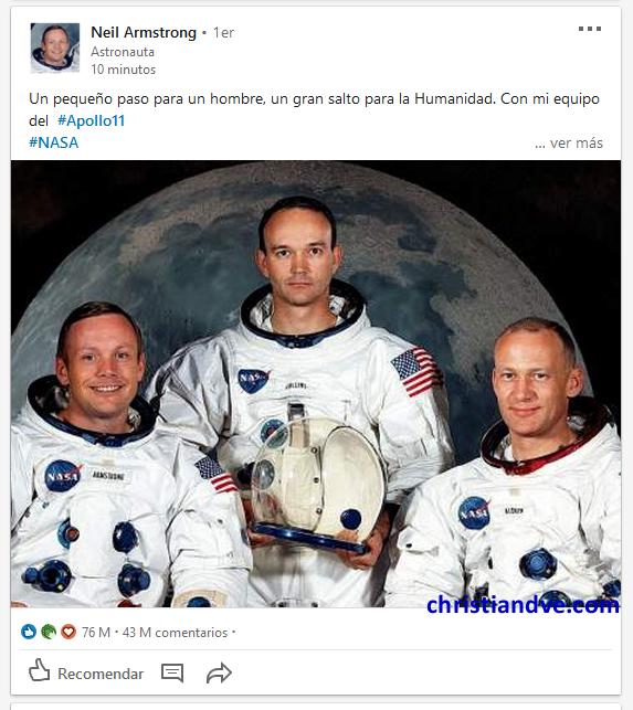 LinkedIn de Neil Armstrong tras la llegada del hombre a la Luna