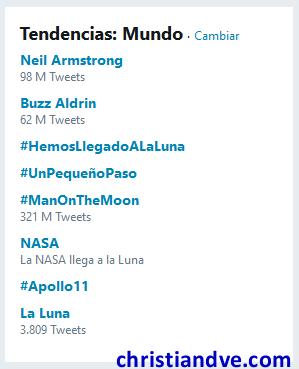 Trending topic mundiales con la llegada del hombre a la Luna en Twitter