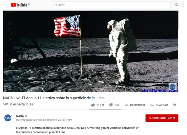 Canal de YouTube de la NASA en directo - El hombre aterriza en la Luna - Transmisión en directo (clic para ampliar) - versión 2019