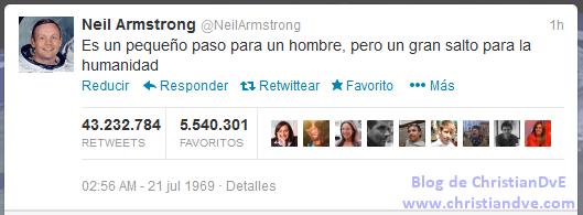 Tuit de Neil Armstrong - El hombre aterriza en la Luna
