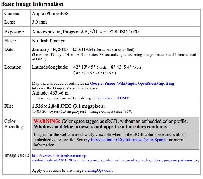 Datos que contiene la foto