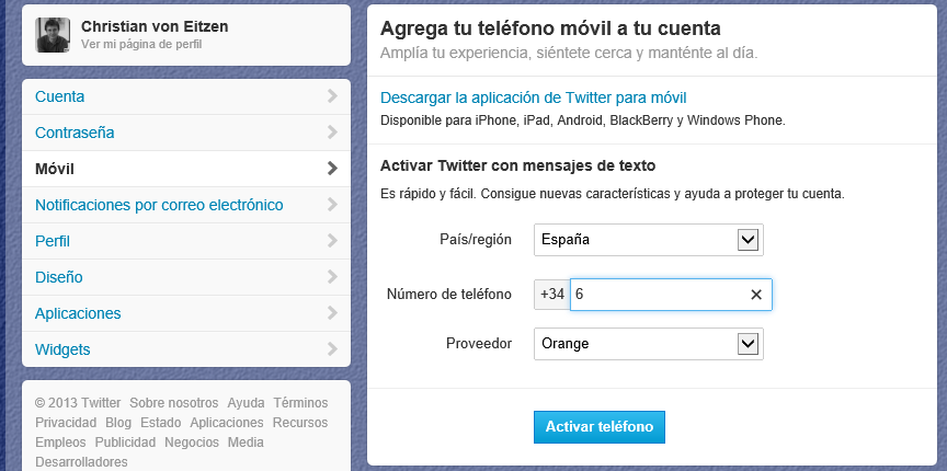 Agregar teléfono móvil a tu cuenta de Twitter