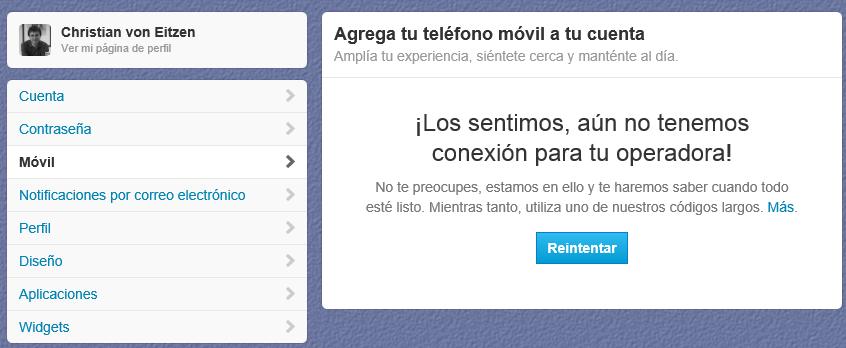 ¡Lo sentimos, aún no tenemos conexión para tu operadora! En España parece que no se puede añadir un móvil a la cuenta de Twitter