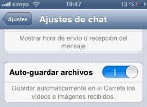 Desactivar el auto-guardar los archivos de WhatsApp