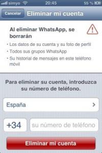 Eliminar totalmente una cuenta de WhatsApp
