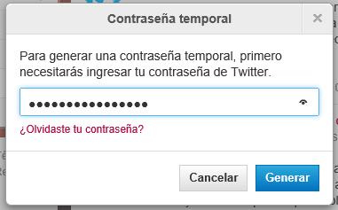 Generar contraseña temporal de Twitter