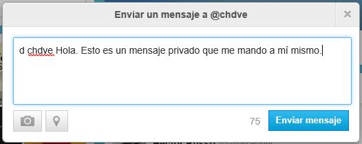 "Enviar con el ""truco"" un DM a un tuitero (captura de pantalla de la web de Twitter)"