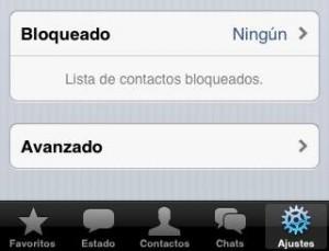 Lista de contactos bloqueados en WhatsApp