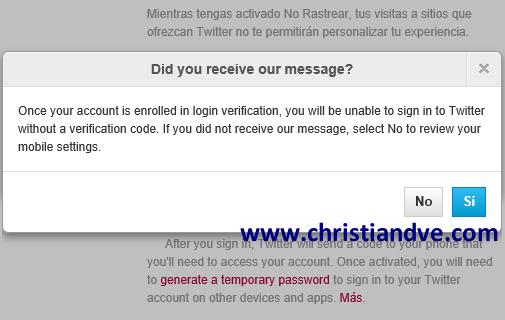 ¿Se recibe el SMS de prueba desde la web de Twitter?