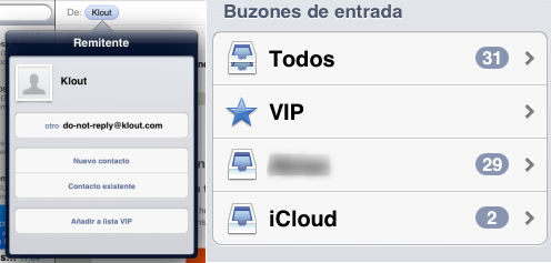Añadir contacto VIP y lista de bandejas