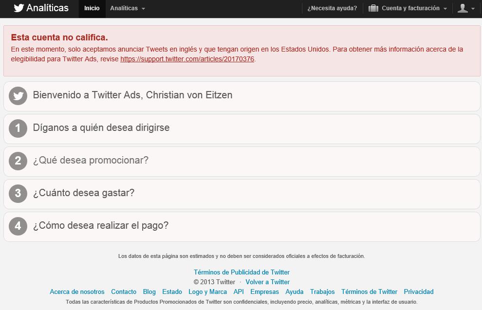 Cuenta para poner anuncios en Twitter Analytics