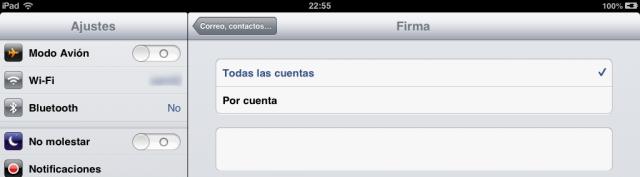 Firma en los correos del iPad