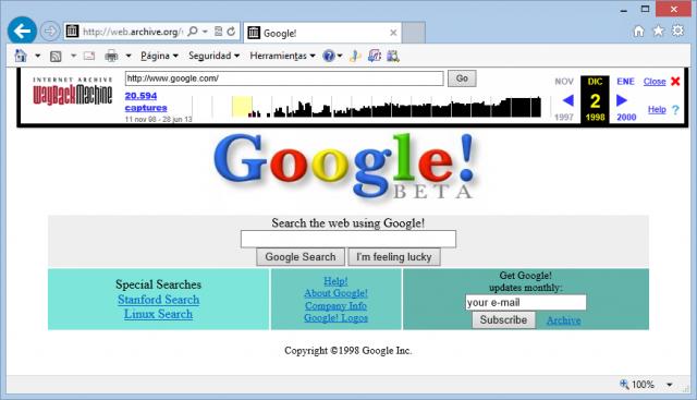 Google el 2 de diciembre de 1998