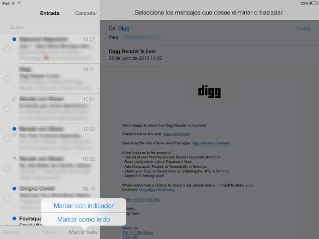 iOS 7: Marcar todos como leídos todos los correos en el iPad, iPhone y iPod