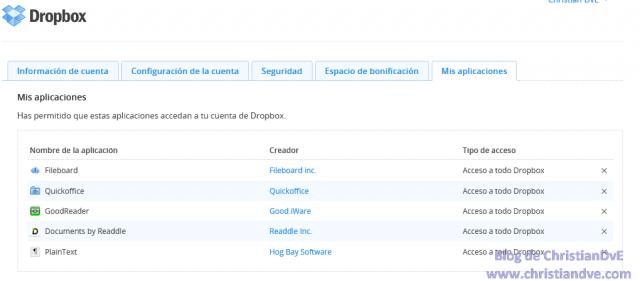 Mis aplicaciones - Has permitido que estas aplicaciones accedan a tu cuenta de Dropbox.