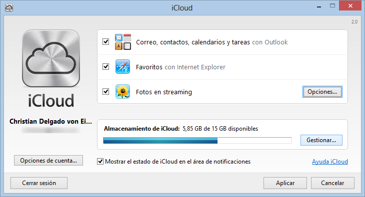 Panel de control de iCloud para Windows
