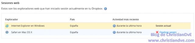 Sesiones web de Dropbox y opción para cerrarlas a distancia