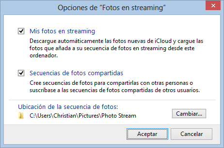 Fotos en streaming de iCloud en Windows - Panel de control de iCloud para Windows